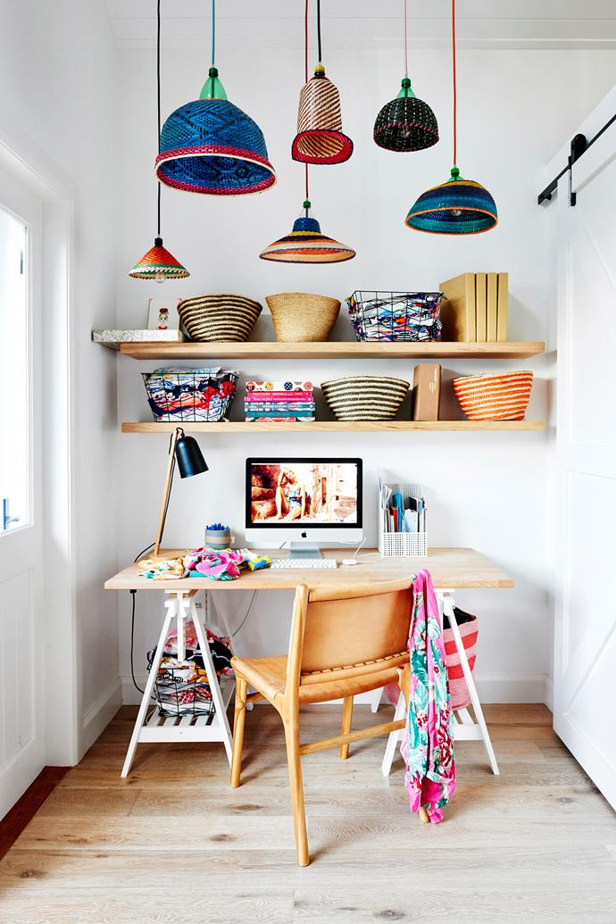 """Zoe's home office consists of an Ikea desk, Barnaby Lane chair, custom oak shelving and assorted PET lamps from Safari Living. """"It's a lovely, bright place to work when I'm at home,"""" she says."""