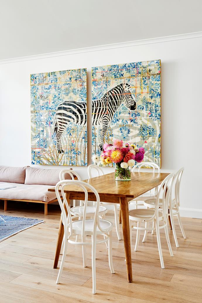 """Artworks are Zoe's favourite thing to buy for her home, and this zebra mural by Jai Vasicek is one of her top picks. """"We've become friends since I bought it, and I still think it's one of his best creations,"""" she says."""