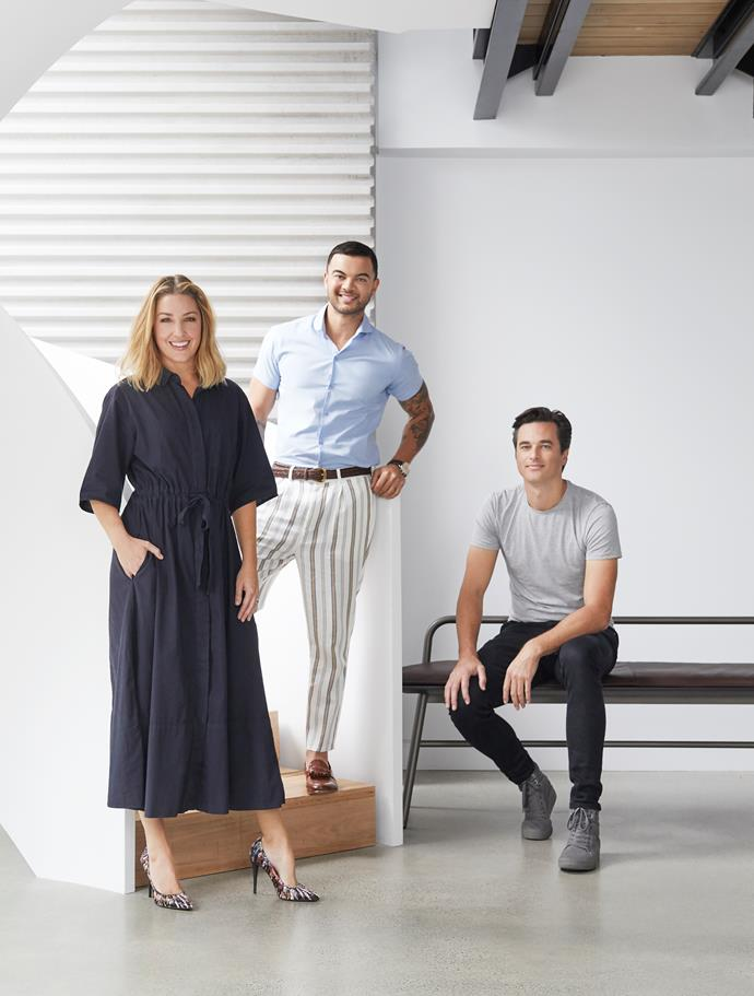 In the foyer, Jules and Guy Sebastian with architect Joe Snell of Studio Snell.