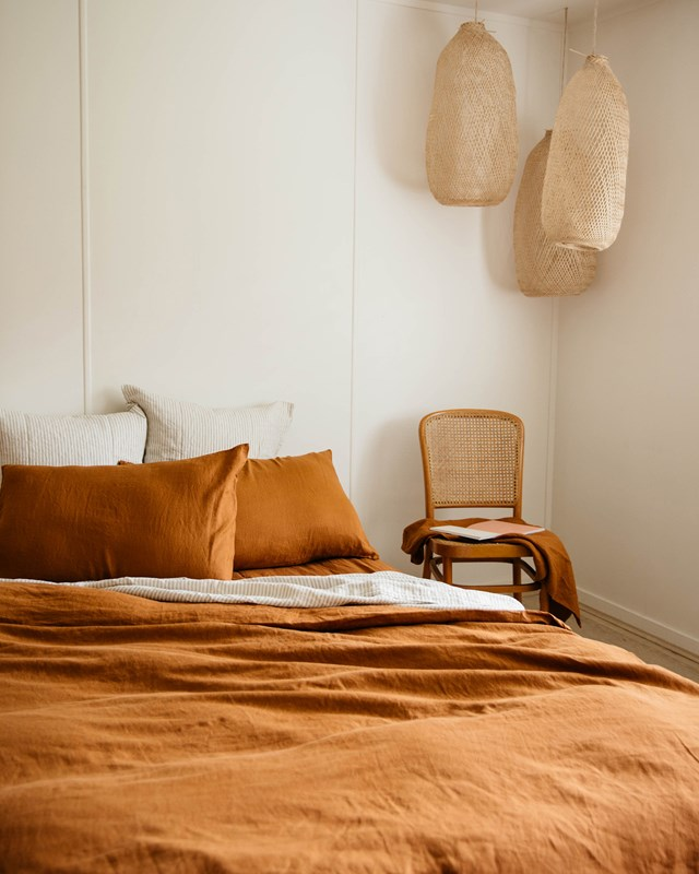 "Linen sheets in Tobacco, from $160, [Carlotta + Gee](https://www.carlottaandgee.com/collections/flat-sheets/products/flat-sheet-in-tobacco|target=""_blank"")"