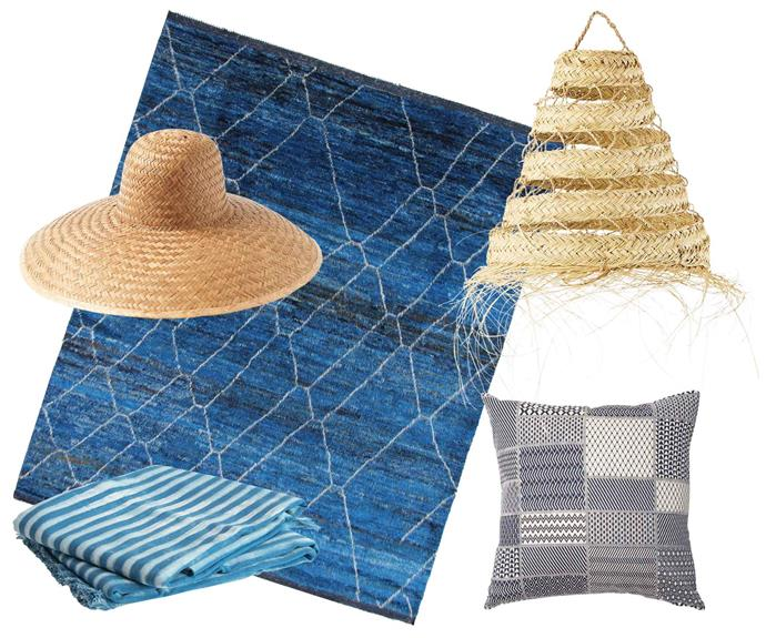 "**Mediterranean magic** Think deep blues and sandy hues. **Get the look** (clockwise from left) Clara wide-brim straw hat, $145, [Toast](https://www.toa.st/au/|target=""_blank""