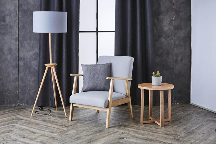 The Scandi Floor Lamp, $69.99. Elwood Chair, $119. Round Side Table, $39.99.
