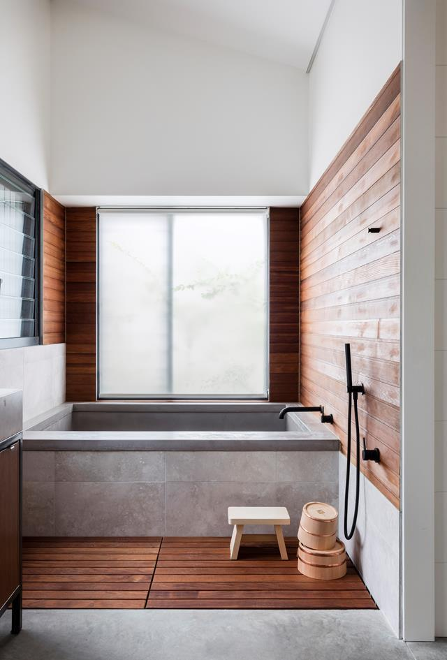 "A [Japanese style bathroom](https://www.homestolove.com.au/japanese-style-bathroom-6518|target=""_blank"") is rich in minimalism and simplicity, whilst incorporating natural elements to create a rejuvenating and relaxing retreat. The timber's warm colour and texture balance the room."