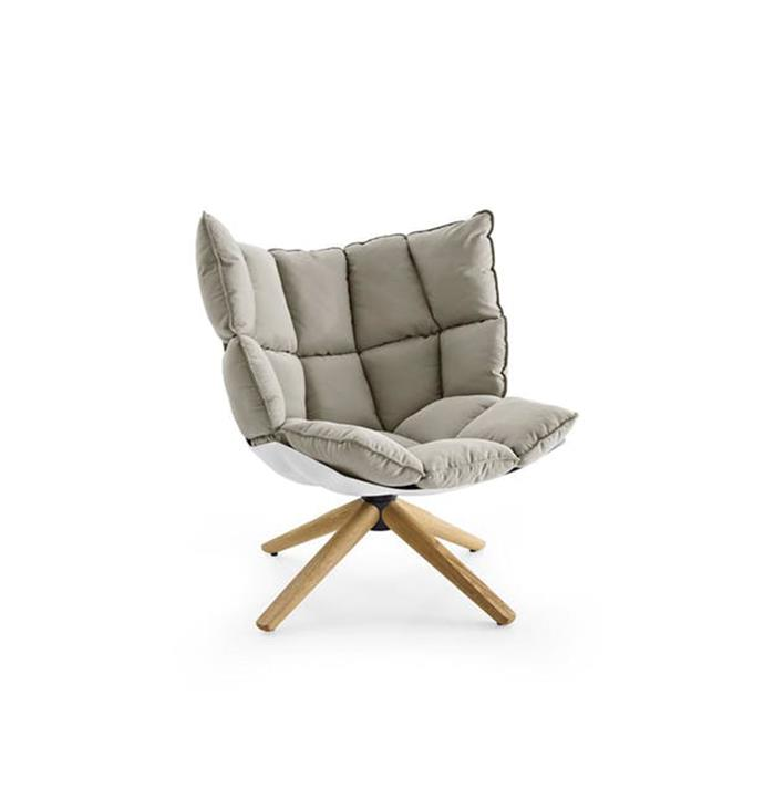 """B&B Italia 'Husk' by Patricia Urquiola, from [Space](https://www.spacefurniture.com.au/husk.html target=""""_blank"""" rel=""""nofollow"""") <br><br> Quilted segments pad a flexible recycled-plastic shell that comes in various colours. There are two widths available plus a high-back version. It also now comes with a steel-base and outdoor waterproof fabrics."""
