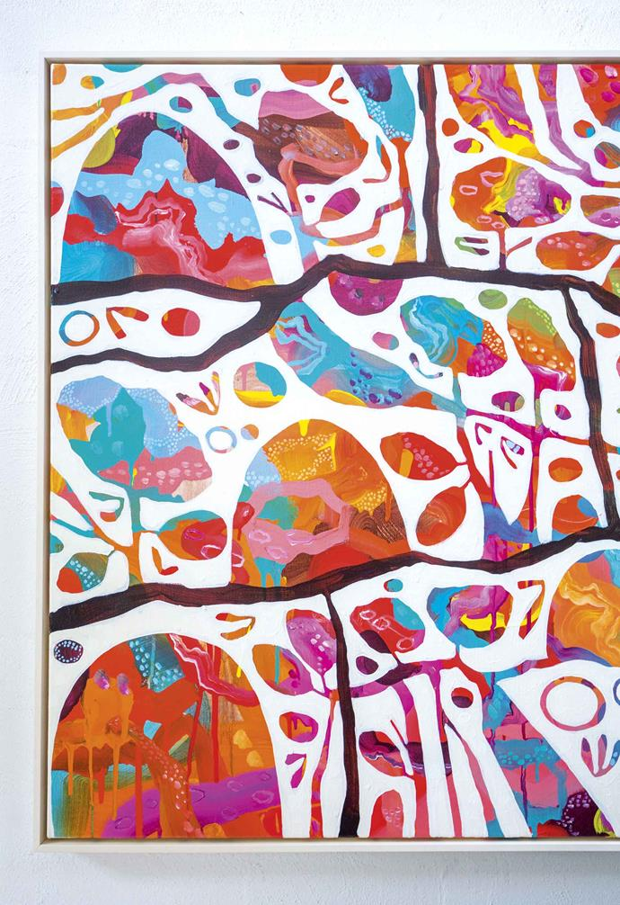 """**Artwork** Artist Rosetta Santucci is well-known for her vibrant semi-abstract artworks. Artwork: *New Journey* by Rosetta Santucci.<br><br>*To see more of Rosetta's work, visit [Rosetta Santucci](http://www.rosettasantucci.com/