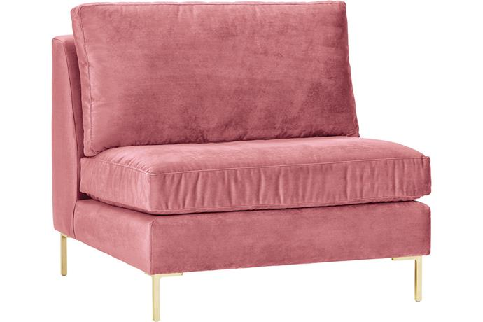"""Harper Fabric Chair, $$1799 - $3499, [Sheridan](https://www.sheridan.com.au/harper-fabric-chair-sv90-b148-c152-153-blush.html target=""""_blank"""" rel=""""nofollow"""") <br><br> This gorgeous custom-made chair can be tailored to suit your style with your choice of luxurious upholstery fabrics in a range of colours. We can't resist this gorgeous rose pink!"""