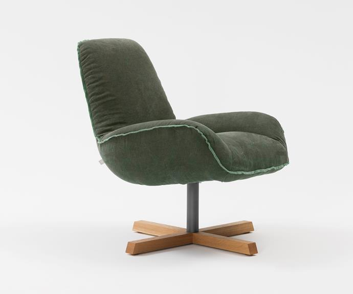 'Winston' chair in Forest/Stone Washed Linen, $3054, from [Jardan] <br><br> Finally, a stylish swivel chair! Pop this in your home office, bedroom or living room corner and spin yourself into a relaxed stupor. Heavenly.