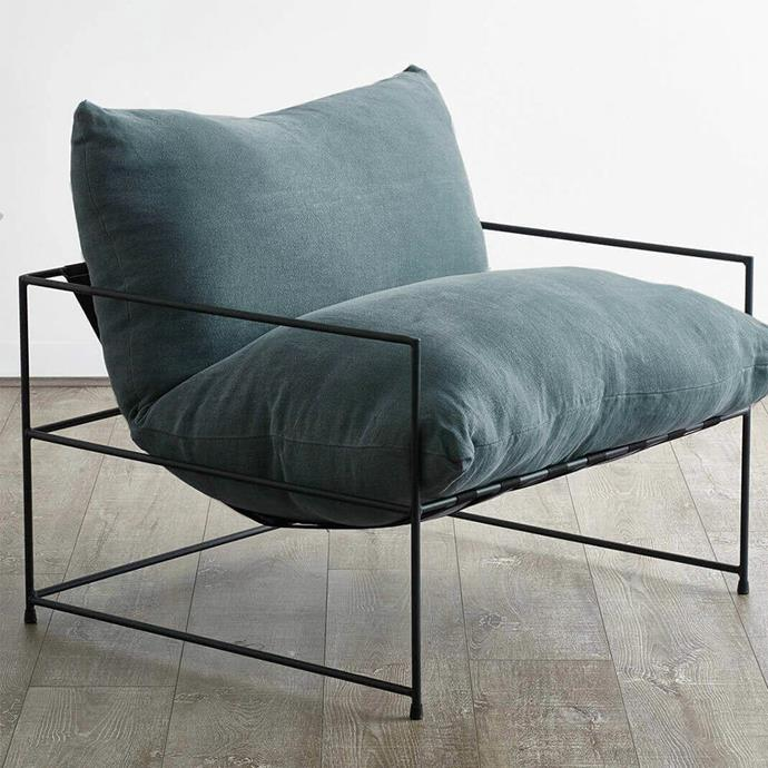 "Unico 'Liberty' Designer Armchair in Teal, $1349, from [RJ Living](https://www.rjliving.com.au/buy-liberty-designer-armchair-teal.html|target=""_blank""
