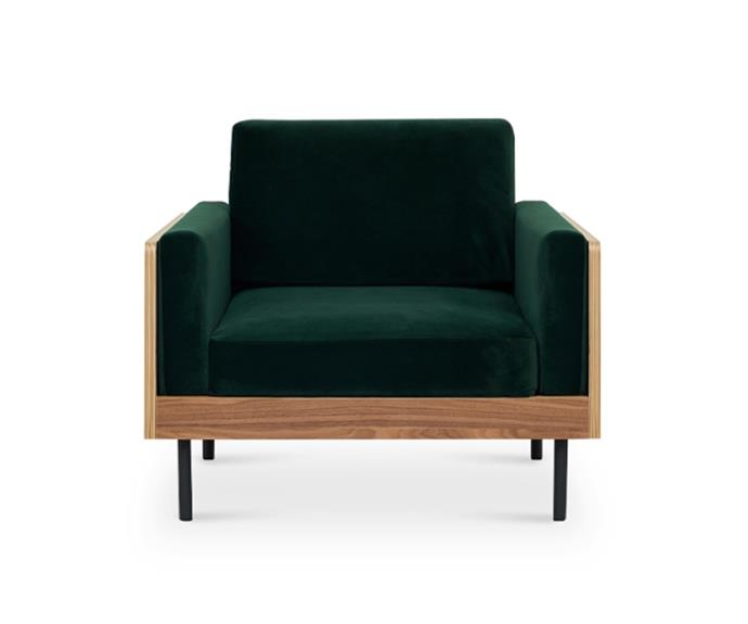 "William Armchair in Fern Green velvet, $749, from [Castlery](https://www.castlery.com.au/products/william-armchair?quantity=1&material=fern_green|target=""_blank""