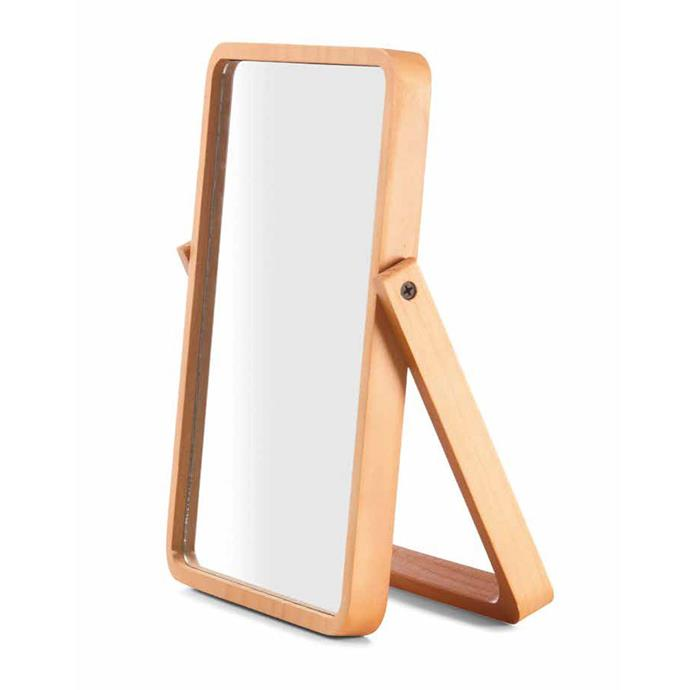 "Mirror with Pinewood Frame, $10, [Kmart](https://www.kmart.com.au/product/mirror-with-pinewood-frame/1097965|target=""_blank""