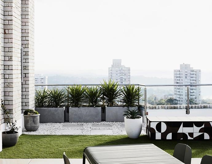 On the new private rooftop, Palissade collection outdoor dining table from Hay with 'Seam' chairs by Adam Cornish from Tait.