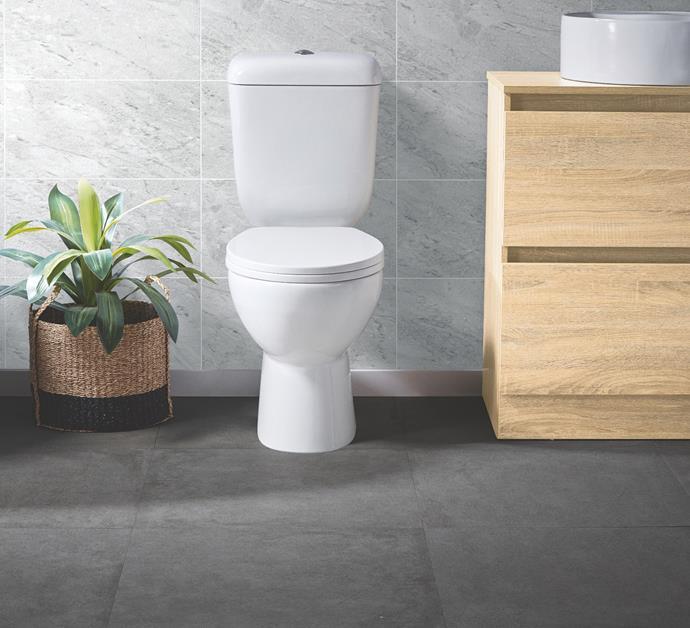 Toilet Suite, $299. Freestanding Vanity in English Oak, $299.