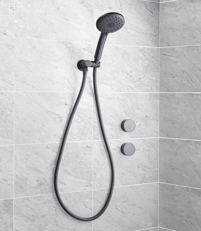Hand Shower with Ceramic Wall Tops in Black, $79.99.