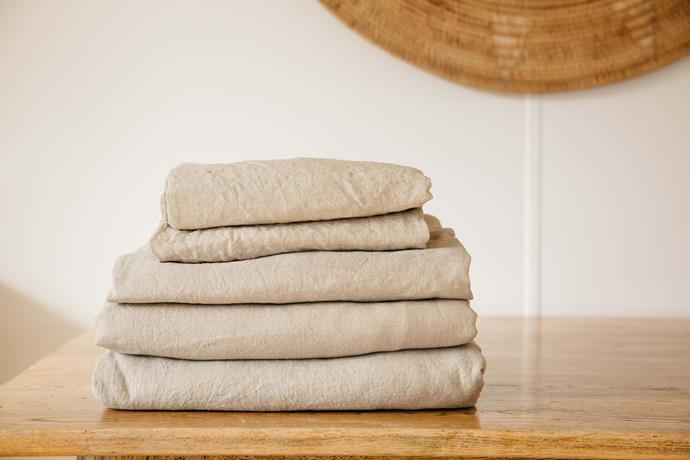 """Linen sheets in Stone, from $150, [Carlotta + Gee](https://carlottaandgee.com/collections/french-linen-sheets/products/fitted-sheet-in-dove-grey