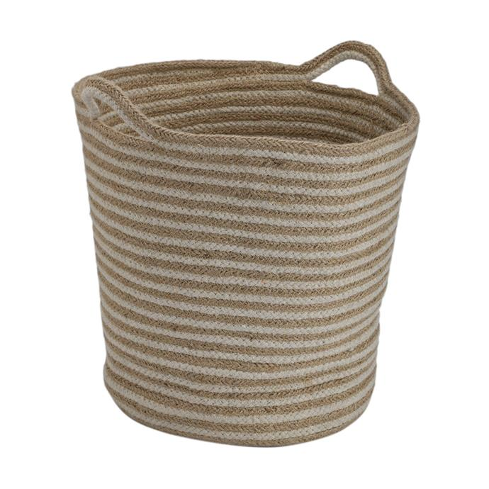 """Rope and Jute Stripe Basket with Handles, $12, [Kmart](https://www.kmart.com.au/product/rope-and-jute-stripe-basket-with-handles/2609808