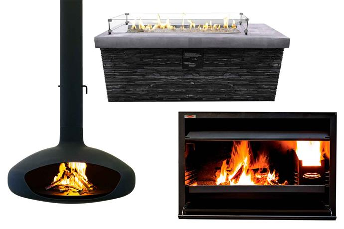 "**From left** The Hearth suspended zinc-coated outdoor fireplace (90cm, doubles as a pizza oven), $10,300, [Aurora Suspended Fires](https://aurorasuspendedfires.com/|target=""_blank""