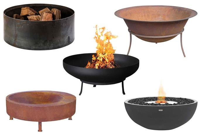 "**Clockwise from left** Molly (Mel)Drum mild-steel fire pit (90cm), $1495 (the timber top is sold separately), [Robert Plumb](https://robertplumb.com.au/|target=""_blank""