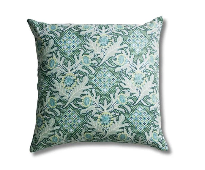 "Firewheel Trellis Ocean cushion cover, $95, [Utopia Goods](https://utopiagoods.com/|target=""_blank""|rel=""nofollow"")."