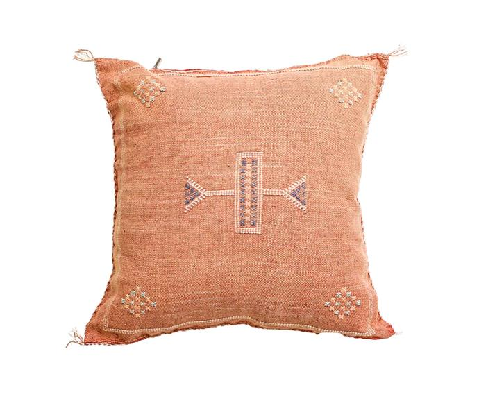 "Sabra cushion - terracotta, $145, [Barefoot Gypsy](https://barefootgypsy.com.au/|target=""_blank""|rel=""nofollow"")."