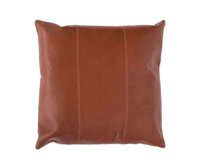 "Maxine leather cushion - tan, $210, [Klovah](https://klovah.com/|target=""_blank""