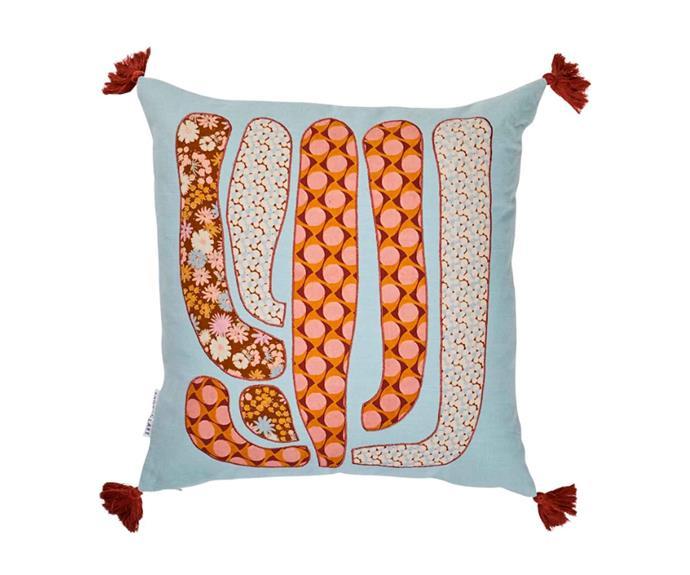 "Amargosa applique cushion, $159, [Sage x Clare](https://sageandclare.com/|target=""_blank""|rel=""nofollow"")."