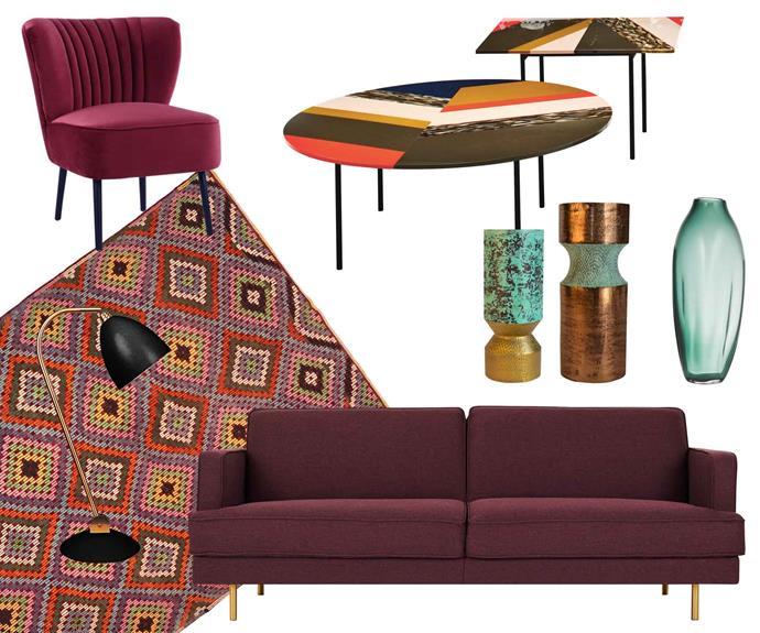 """**Retro active** Vintage lamps and tables mingle with smooth fabrics and graphic patterns. **Get the look** (clockwise from left) Slipper armchair, $700, [Interiors Online](https://interiorsonline.com.au/). Moroso 'Fishbone' tables, from $2425 each, [Hub Furniture](http://www.hubfurniture.com.au/