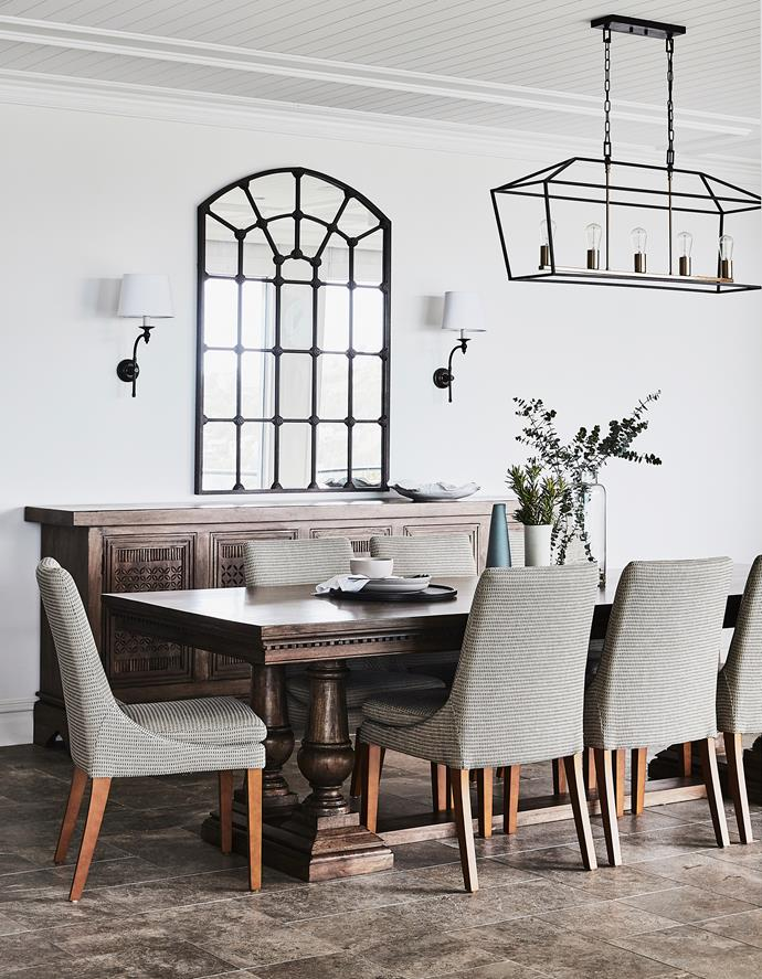 Laurent dining table and Philippe sideboard, both Wisteria Design. Teddy dining chairs, Nick Scali. Sconces, Emac & Lawton. Olivier pendant light (large), Cafe Lighting & Living. Designer buy: Warranbrooke 'Arched Gate' mirror, from $777, Schots Home Emporium.