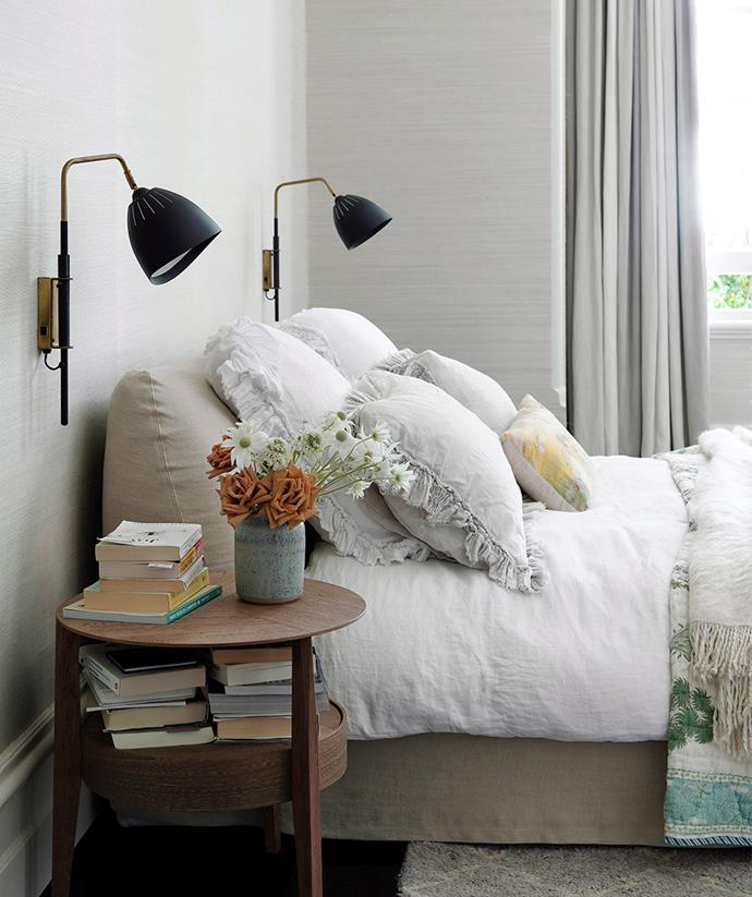 "**LIGHTING:** It's not enough to merely set a lamp beside your bed and call it done; a bedroom sanctuary needs a well-configured [lighting plan](https://www.homestolove.com.au/home-lighting-design-guide-3560|target=""_blank""