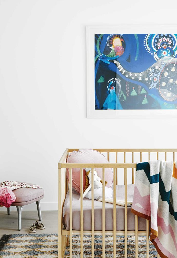 """It's a very easy place to live,"" says Lauren. ""We always laugh and say the only problem with this house is having four kids!""<br><br>**Vivienne's bedroom** Jessie Breakwell's artwork Nights Of Jaipur offers colour above an IKEA cot and a 'Cutler' rug from [Kip&Co](https://kipandco.com.au/