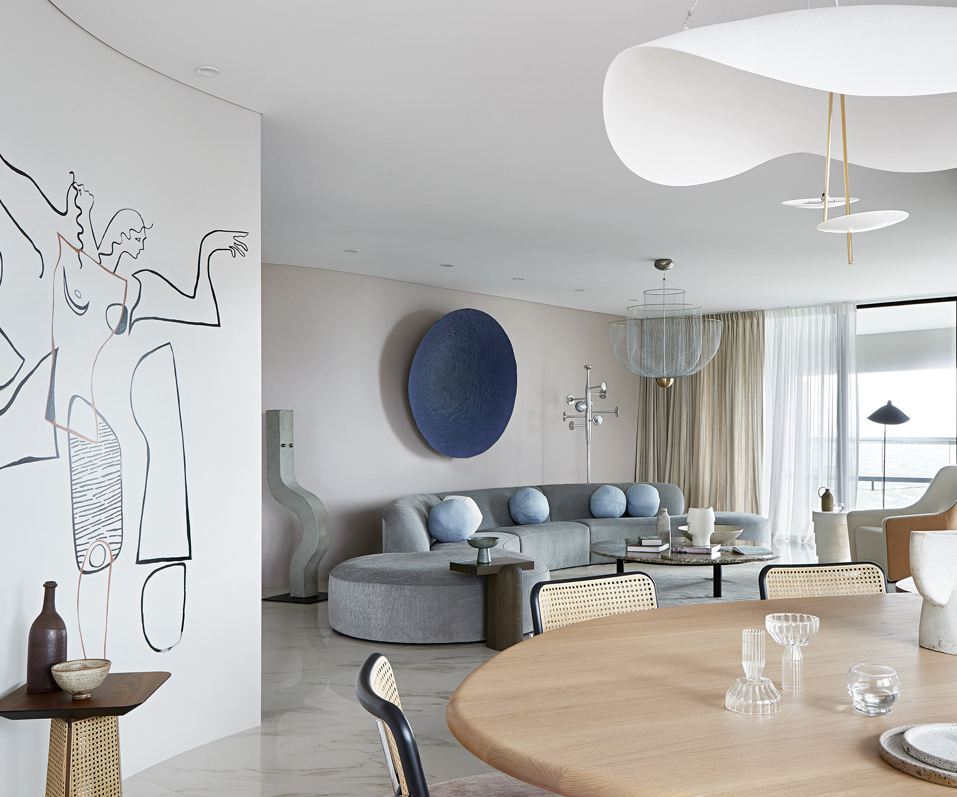 luxurious apartment filled with art