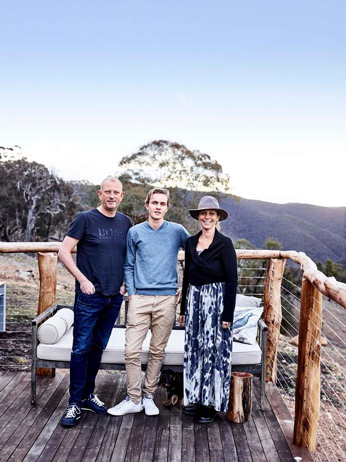 Michael and Kristine with their youngest son Carl, who helped build the house. The couple fell in love with the Lithgow Region after visiting Wolgan Valley on their wedding anniversary.
