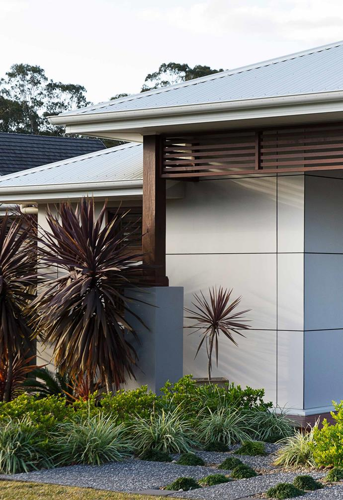 Scyon 'Matrix' wall cladding by James Hardie looks great on freestanding homes. The geometric fibre-cement panels and expressed-joint look is right on trend.