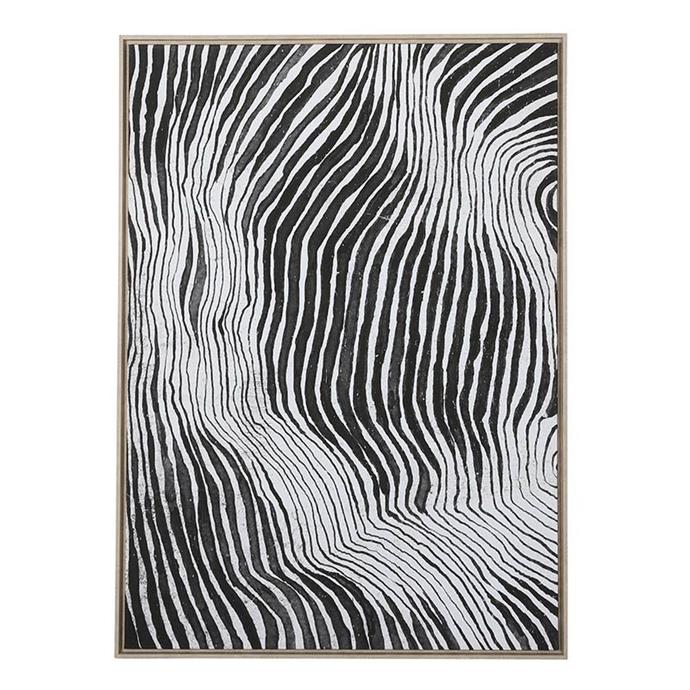 "For artwork, prints and patterns in netural colours are a great way to showcase art without drawing the eye too much. This pre-framed print, $269 from [OzDesign](https://ozdesignfurniture.com.au/homewares/wall-art/black-white-stripe-box-framed-canvas-in-natural|target=""_blank""
