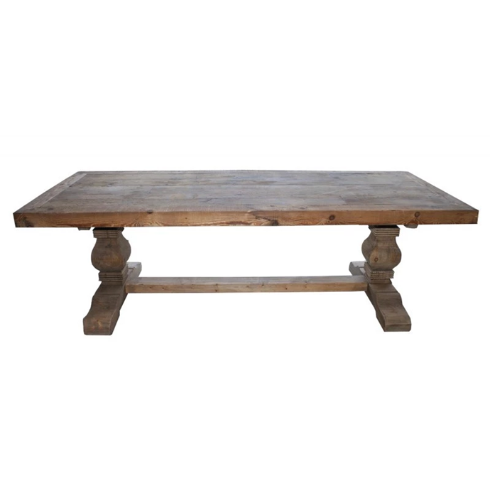 """Carved black leg **dining table** (300cm), $4699, from [Interiors Online](https://fave.co/2Kg1za3
