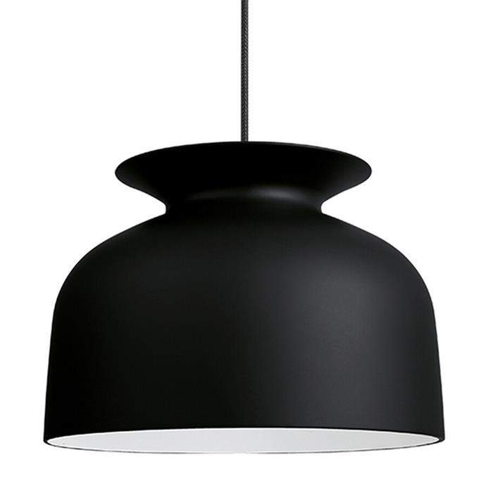 "Gubi 'Ronde' pendant in charcoal black, $709, from [Surrounding](https://surrounding.com.au/ronde-pendant-large/|target=""_blank""