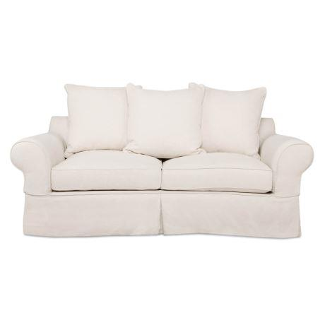 """'Brighton Roll' 2 seat fabric **sofa** with scatter cushions, $1799, from [Freedom](https://fave.co/2MrcdxI