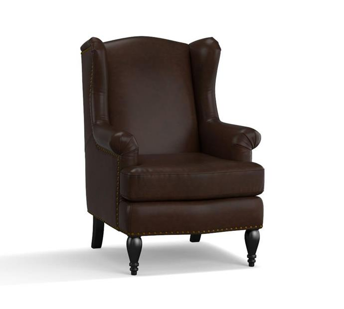 """SoMa 'Delancy' petite leather **armchair**, $999, from [Pottery Barn](http://www.potterybarn.com.au/soma-delancey-leather-wingback-armchair