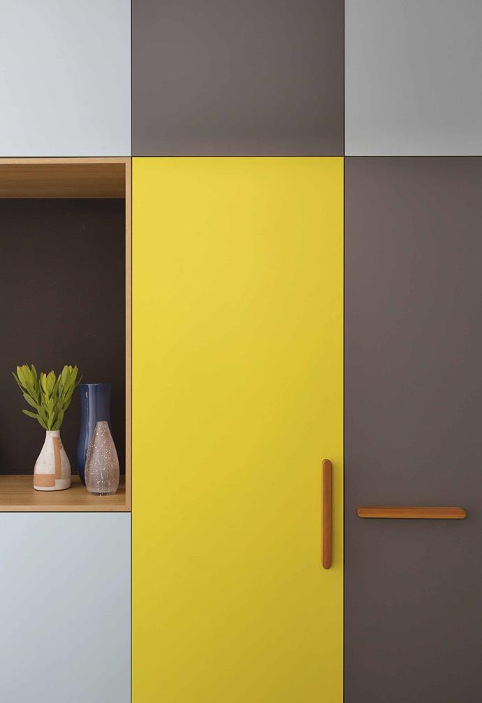 "It helped, of course, that the couple are both architects, and that the modernist home had a clear architectural identity they were keen to respect. The result is no historical homage, though. It's a colourful and practical home for their family of five, achieved in a highly effective six-week build.<br><br>**Hallway** Joinery by [Styline Kitchens](https://www.stylinekitchens.com.au/|target=""_blank""