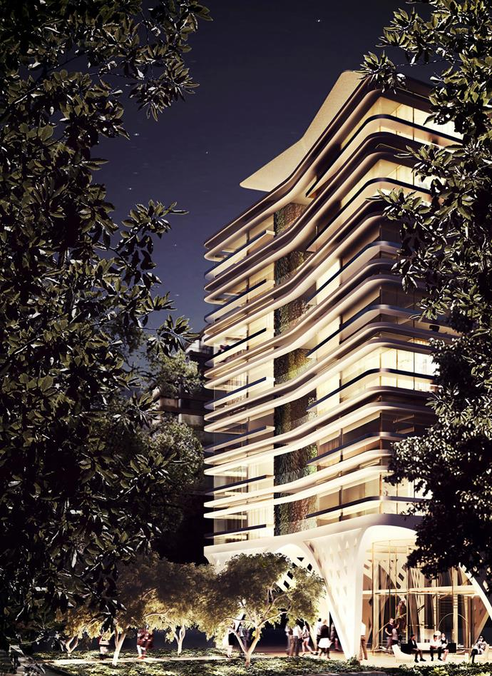 Competition entry for a high-rise apartment block in Melbourne's St Kilda Road.