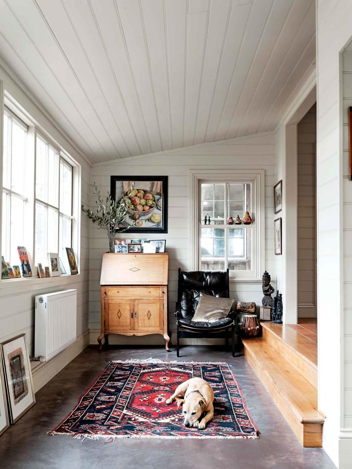 The closed-in verandah is the ideal spot for Ally to relax.
