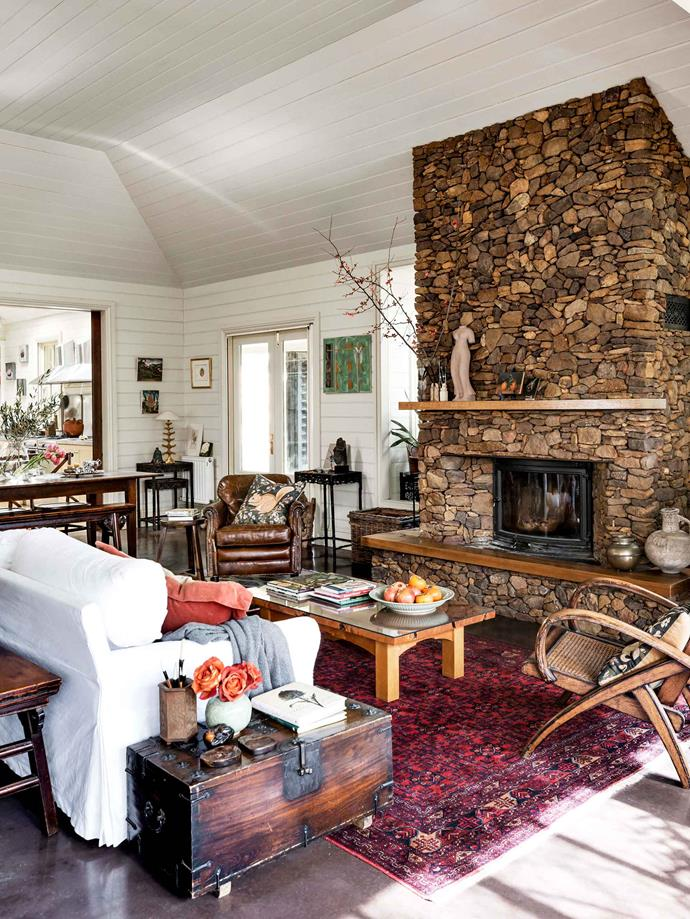 Rocks collected from the property were used to make the fireplace.