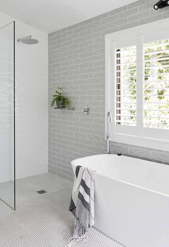 """**Ensuite** The tiles are the same as those in the kitchen. Bath and taps, [Who Bathroom Warehouse](https://www.whobathroomwarehouse.com.au/