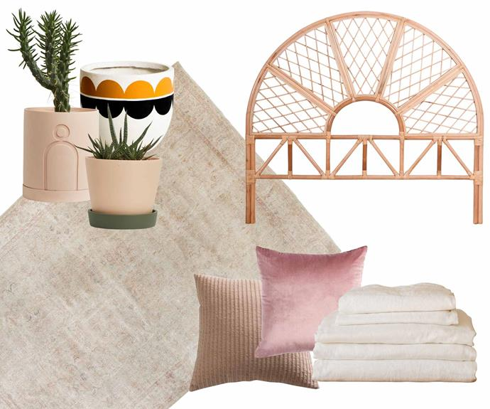 """**Light touch** Pastels in blush tones make a white scheme come alive. **Get the look** (clockwise from left to right) Louise pot, $59, and Etch planter, $179, [Capra Designs](https://capradesigns.com/