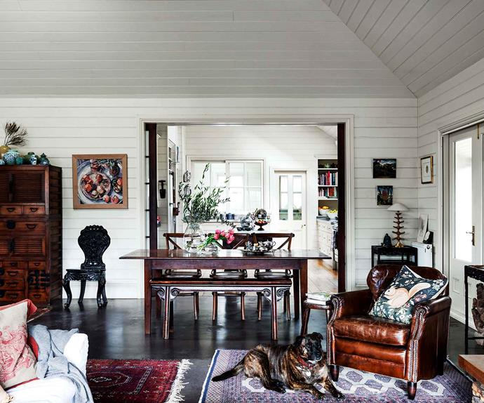 Cottage living room with antique furniture