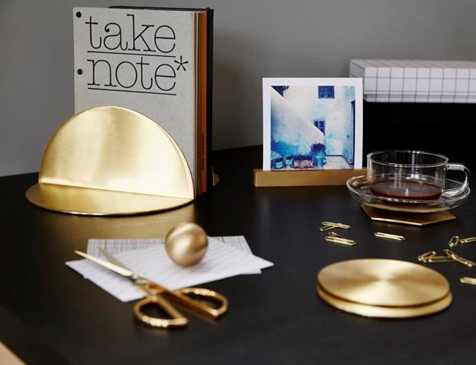 "Bookends are an easy way to add some bling, and these slimline brass numbers make the move contemporary. Brass **bookends**, $99 for the pair, from [Behr & Co.](https://www.behrandco.com.au/products/bookendsbrass|target=""_blank""