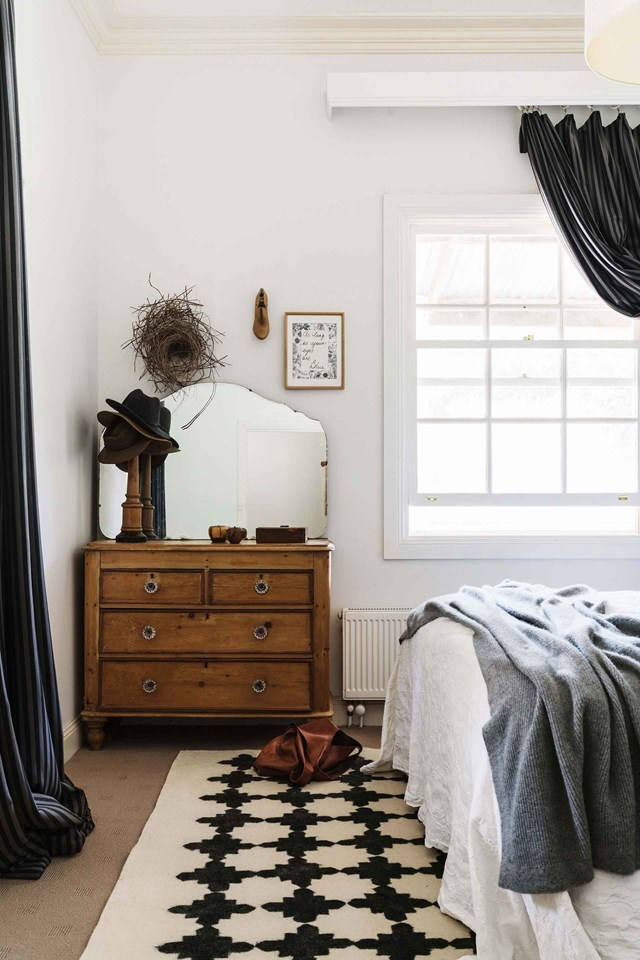 """Hand sewn bed linen adorns the master bedroom at [Black Barn Farm](https://www.homestolove.com.au/black-barn-farm-20518