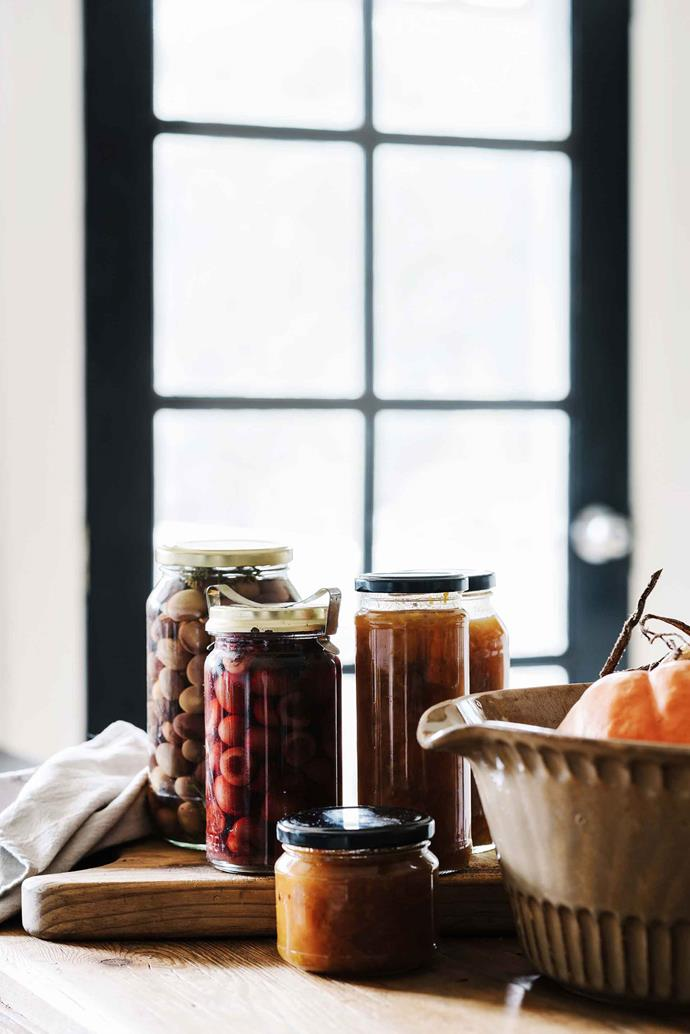 Preserves, chutneys, jams and sauces made from produce grown at Black Barn Farm.