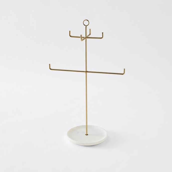 "jazz up your dresser and store your jewellery in style with this brass-look hanger. Jewellery Stand with Marble Base, $15, from [Target](https://www.target.com.au/p/jewellery-stand-with-marble-base/62293457|target=""_blank""