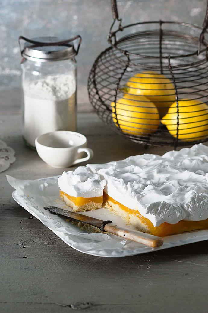 The marshmallow layer can make the slice quite tall, so make it in a nice, deep tray.