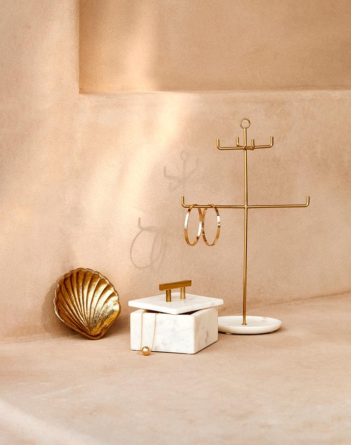 Gold Shell Trinket Dish, $8. Marble Jewellery Box, $20. Jewellery Stand with Marble Base, $15.